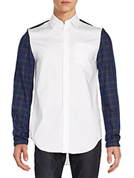 3.1 Phillip Lim Plaid Sleeve Cotton Shirt Dark Blue White
