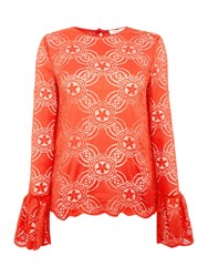 Endless Rose Long Sleeved Detailed Knitted Top Red