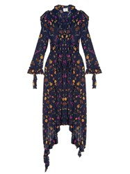 Vetements Ruffle Shoulder Floral Print Dress Navy Multi