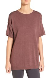 Eileen Fisher Women's Merino Wool Jersey Round Neck Tunic Mahogany