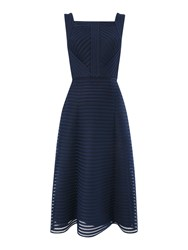 Untold Fit And Flare Mesh Dress Navy
