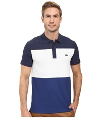 Lacoste Short Sleeve Color Block Textured Pique Polo Midnight Blue Chine White Waterfall Blue Men's Clothing