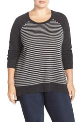 Plus Size Women's Sejour Wool And Cashmere Scoop Neck Sweater Light Grey Dark Grey Stripe