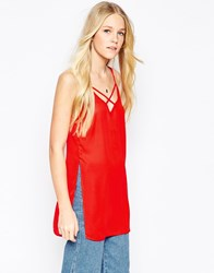 Influence Longline Strap Detail Side Split Cami Top Red