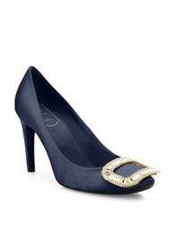 Roger Vivier Belle De Nuit Crystal Buckle Satin Pumps Navy Blue