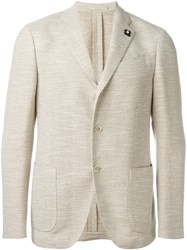 Lardini Three Button Blazer Nude And Neutrals