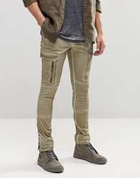 Asos Super Skinny Cargo Trousers With Zip In Washed Grey Brown Chinchilla