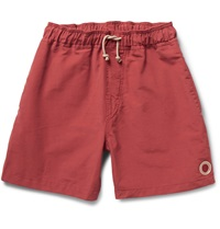 Mollusk Vacation Cotton Blend Swim Shorts Red