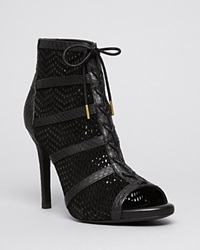 Joie Open Toe Platform Lace Up Perforated Booties Shari High Heel