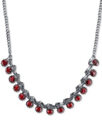 2028 Silver Tone Red Crystal Collar Necklace