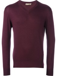 Cruciani V Neck Sweater Pink Purple