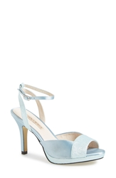 Menbur 'Arena' Ankle Strap Peep Toe Satin Pump Women Blue Lake