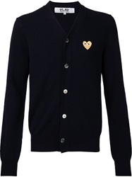 Comme Des Garcons Embroidered Logo V Neck Cardigan Blue
