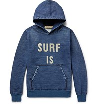 Remi Relief Printed Indigo Dyed Loopback Cotton Jersey Hoodie Blue