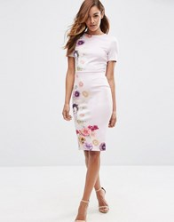 Asos Placed Floral Printed T Shirt Bodycon Dress Multi