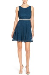 Speechless Women's Embellished Lace Skater Dress Peacock Blue