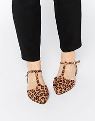 London Rebel T Bar Point Flat Shoes Multi