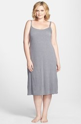 Natori Plus Size Women's 'Shangri La' Nightgown Heather Grey
