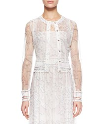 Escada Sheer Knit Lace Cardigan White Multi