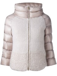 Herno Knitted Puffer Jacket Pink And Purple
