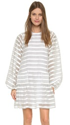 Kenzo Striped Long Sleeve Dress White