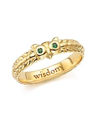 Monica Rich Kosann 18K Yellow Gold Owl Poesy Ring With Green Tsavorite Green Gold