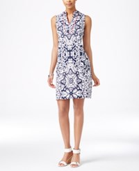 Charter Club Medallion Print Shift Dress Only At Macy's Intrepid Blue