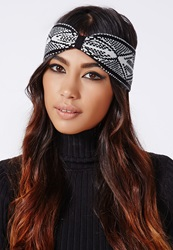 Missguided Knitted Aztec Print Headband Black