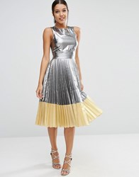 Asos Sheer And Solid Metallic Pleated Midi Dress Silver