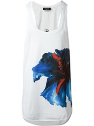 Dsquared2 Oversized Flower Print Tank Top White