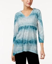 Styleandco. Style Co. Petite Sublimated Print Hoodie Only At Macy's Teal