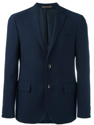 Corneliani Button Front Blazer Blue