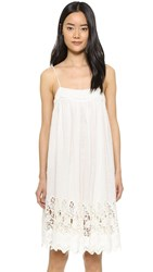 Nili Lotan Linen Eyelet Marseille Dress Semi Bleached White