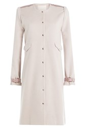Marina Hoermanseder Wool Angora Blend Coat With Leather Deatils Beige