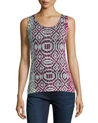 Neiman Marcus Cashmere Collection Tribal Print Cashmere Tank