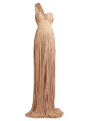 Maria Lucia Hohan Silk Tulle Pleated Gown Nude