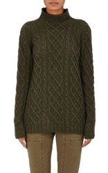 Barneys New York Women's Cashmere Cable Knit Fisherman Sweater Dark Green