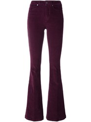 Paige Corduroy Flared Trousers Pink And Purple
