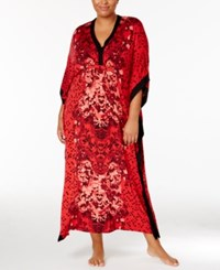 Ellen Tracy Plus Size Contrast Trimmed Printed Caftan Red Print