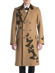Alexander Mcqueen Wool Long Sleeve Overcoat Camel