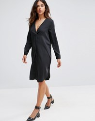 Vero Moda Oversized V Neck Dress Black