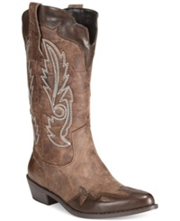 Dolce By Mojo Moxy Quiggly Western Cowboy Boots Women's Shoes Espresso