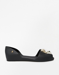 Melissa Fresh Bloom Black Peep Toe Flat Shoes