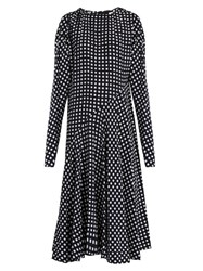 Marni Tie Back Checked Silk Dress Navy Multi