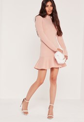 Missguided Long Sleeve Fishtail Hem Mini Dress Pink Beige