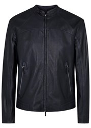 Armani Collezioni Midnight Blue Leather Jacket Navy