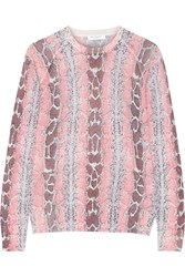 Equipment Sloane Snake Print Wool Blend Sweater Pink