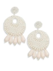 Kenneth Jay Lane Gypsy Seed Bead Hoop Clip On Earrings Ivory