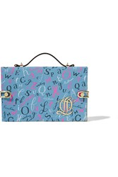 Olympia Le Tan Printed Canvas Box Clutch Blue