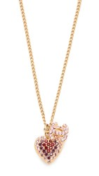 Wgaca Previously Owned Chanel Charm Necklace Gold Pink Clear